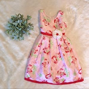 Pink floral church/Easter dress size 5